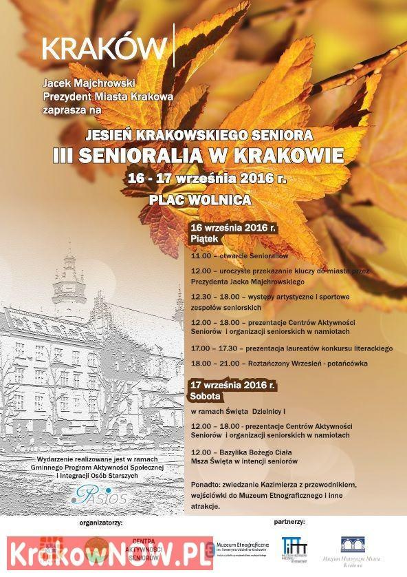 16 i 17 września Jesień Krakowskiego Seniora czyli III Senioralia na Placu Wolnica