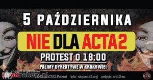 stop acta2 krakow 2018 rynek glowny 300x157 - Protest w Krakowie Nie dla ACTA2. Krakowski Rynek 5 października 2018