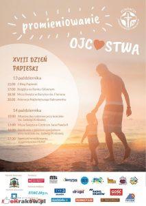 """plakat dzien papieski 2018 krakow 213x300 - XVIII Dzień Papieski """"Promieniowanie Ojcostwa"""" 14 października 2018r."""