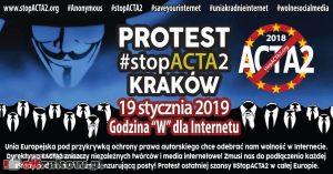 stop acta2 protest krakow 2019 300x157 - Protest #StopACTA2 Kraków, sobota 19 stycznia. Nie dla cenzury internetu!