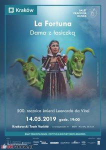 cracovia danza la fortuna.dama z lasiczka plakat 212x300 - Spektakl LA FORTUNA. DAMA Z ŁASICZKĄ (14.05 Kraków, Teatr Variete)