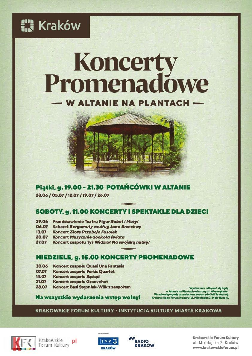 koncerty promenadowe kfk 2019 plakat - Koncerty Promenadowe w Altanie na Plantach. Moc atrakcji dla każdego w samym sercu Krakowa!
