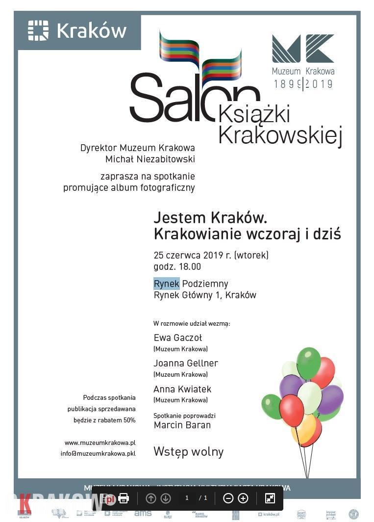 Jestem Kraków. Krakowianie wczoraj i dziś. Muzeum Historyczne Miasta Krakowa