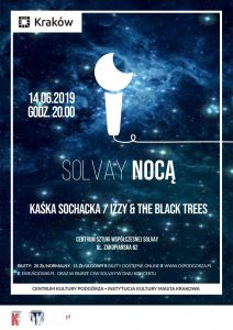 solvay noca plakat czerwiec 2019 1 212x300 - Izzy and the Black Trees / Kaśka Sochacka / Solvay / Kraków / 14 czerwca - zapraszamy