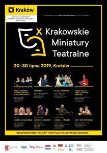 x krakowskie miniatury teatralne plakat 210x300 - X Krakowskie Miniatury Teatralne - Jubileuszowa edycja festiwalu teatralnego w Krakowie
