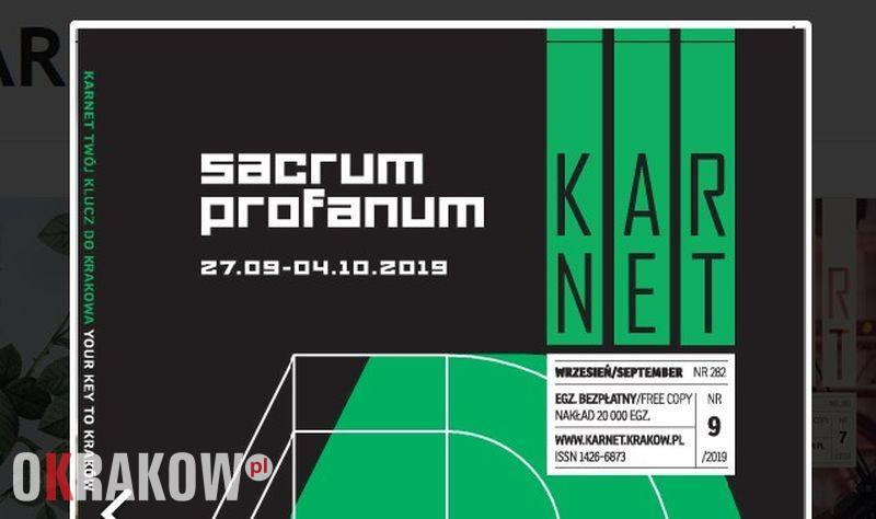 Kraków, 27 wrzesień – 4 październik 2019 #17. Sacrum Profanum: program wydarzeń towarzyszących