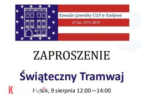 Świąteczny Tramwaj z okazji 45. rocznicy otwarcia Konsulatu USA w Krakowie