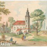 Kościół św. Piotra Małego na Piasku od strony wschodniej, mal. Jan Kanty Wojnarowski, Kraków, ok. 1845 r., papier, akwarela, MHK-643/VIII