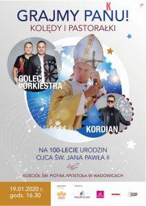 plakat grajmy panu2019 a3 03druk 01 213x300 - Świąteczny koncert z okazji 100-lecia urodzin Ojca Św. Jana Pawła II