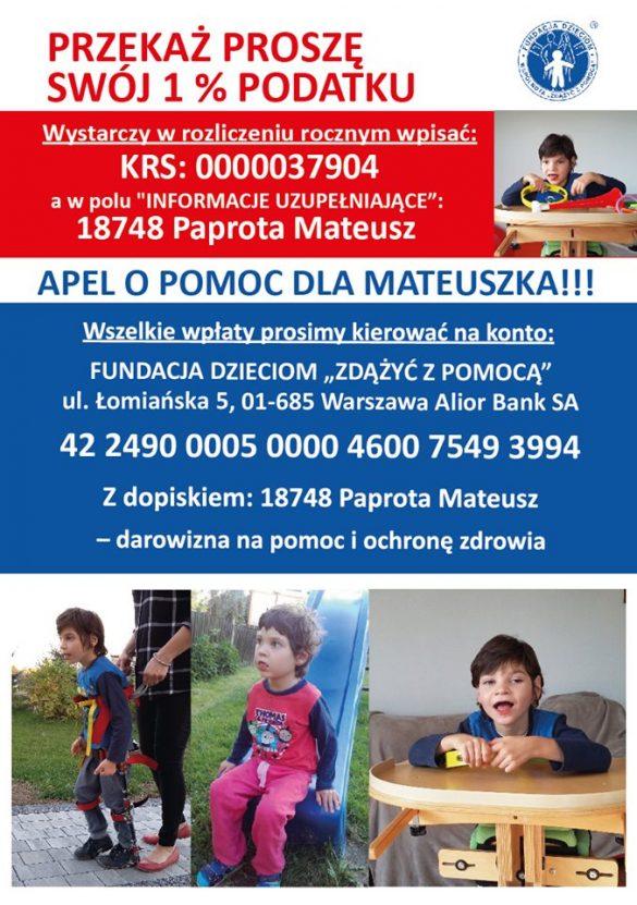ulotka 1 585x831 - Apel o pomoc dla Mateuszka!