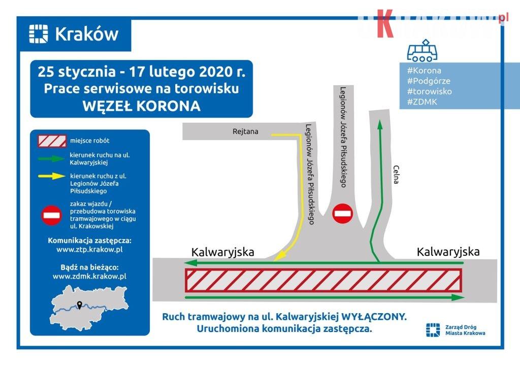 zdmk krakow - Zmiany w organizacji ruchu! 25 stycznia -17 lutego br. prace serwisowe na węźle Korona