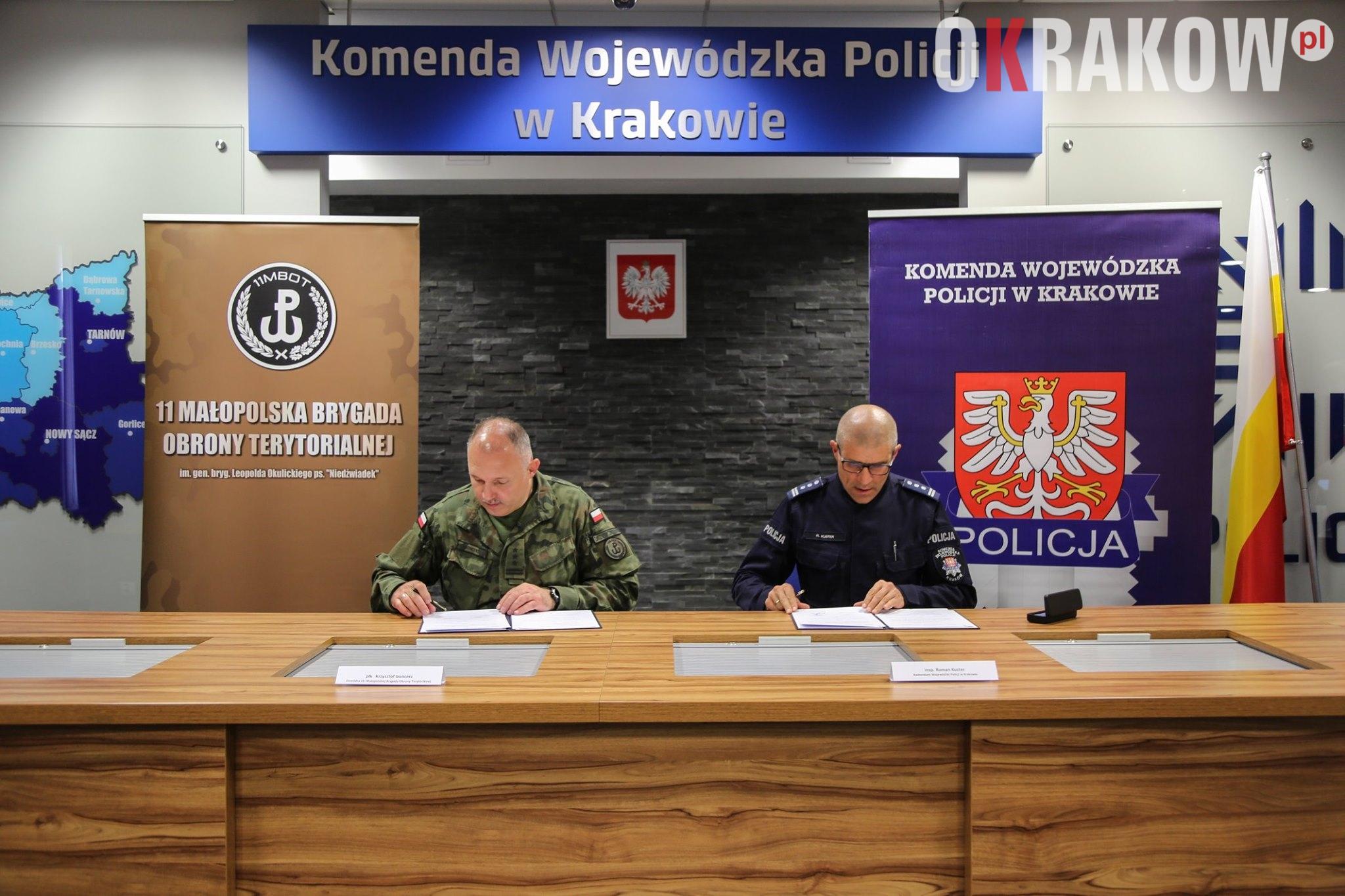 policja krakow - Porozumienie o współpracy pomiędzy 11 Małopolską Brygadą Obrony Terytorialnej i Komendą Wojewódzką Policji w Krakowie